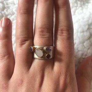 Jewelry - Sterling silver ring with real stones